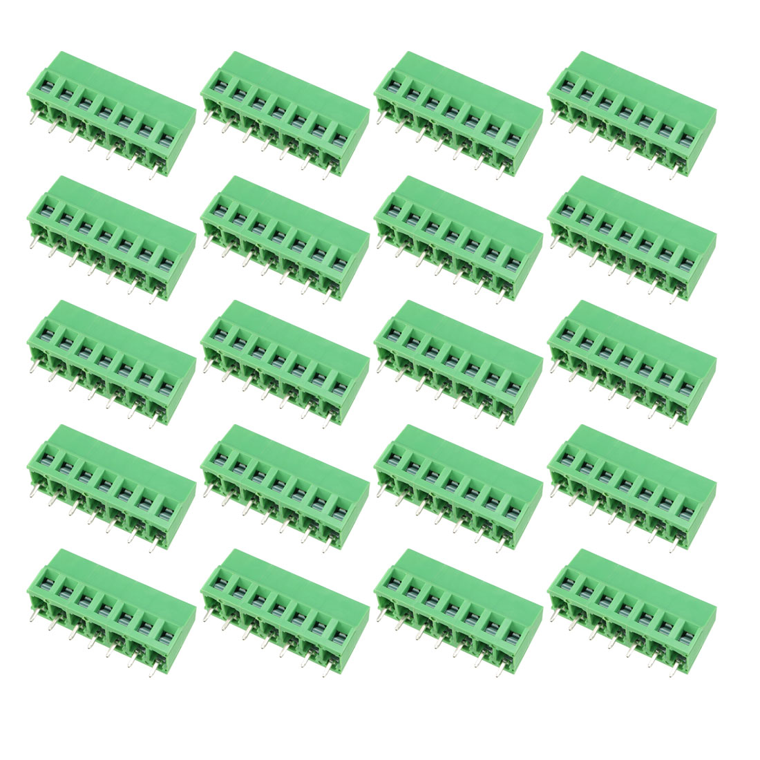 uxcell 10pcs AC300V 15A 5.08mm Pitch 4P Flat Angle Needle Seat Plug-In PCB Terminal Block Connector green