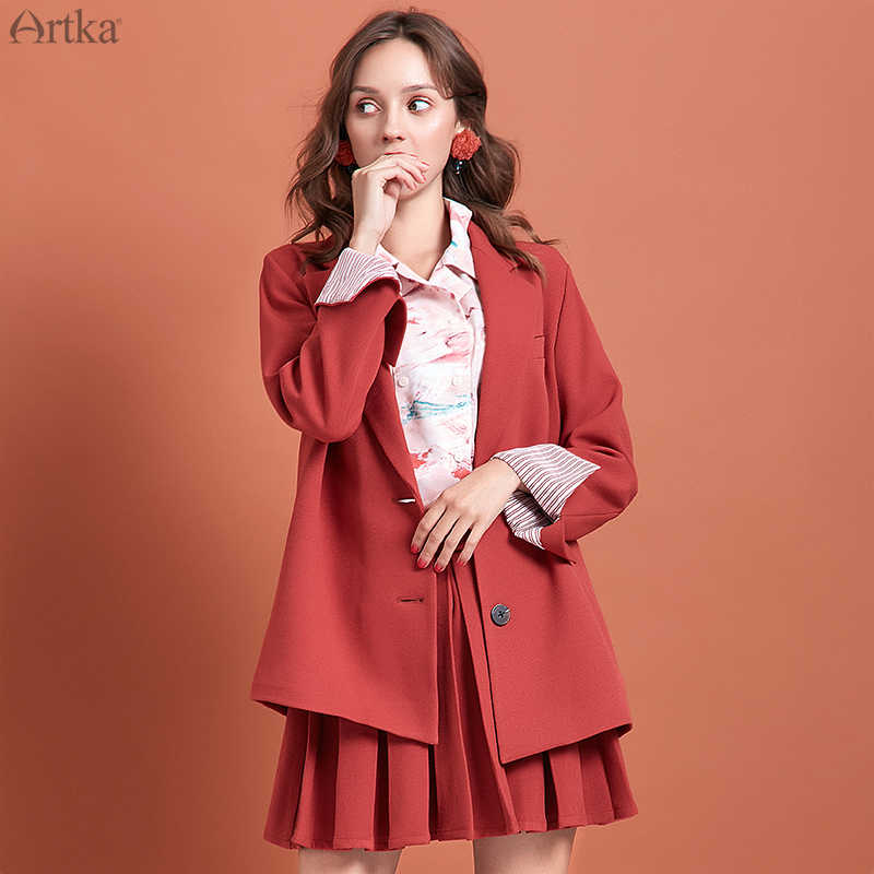 ARTKA 2019 Autumn New Women's Suit Fashion Blazer and Skirt Set Loose Casual Women Blazers and Jackets Suit With Skirt WA10398Q