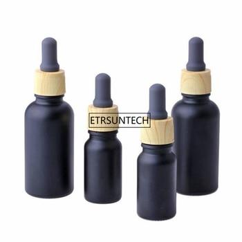 100pcs 10ml 30ml Empty Black Frosted Glass Dropper Bottle Vial Nasal Oil Dropper E liquid Refillable Bottle Package F3331