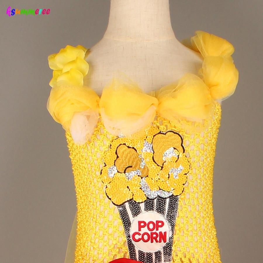 Adorable Popcorn Inspired Girls Tutu Dress Red & White Tulle Children Birthdays Halloween Dress Up Costume Kids Flower Ball Gown 6