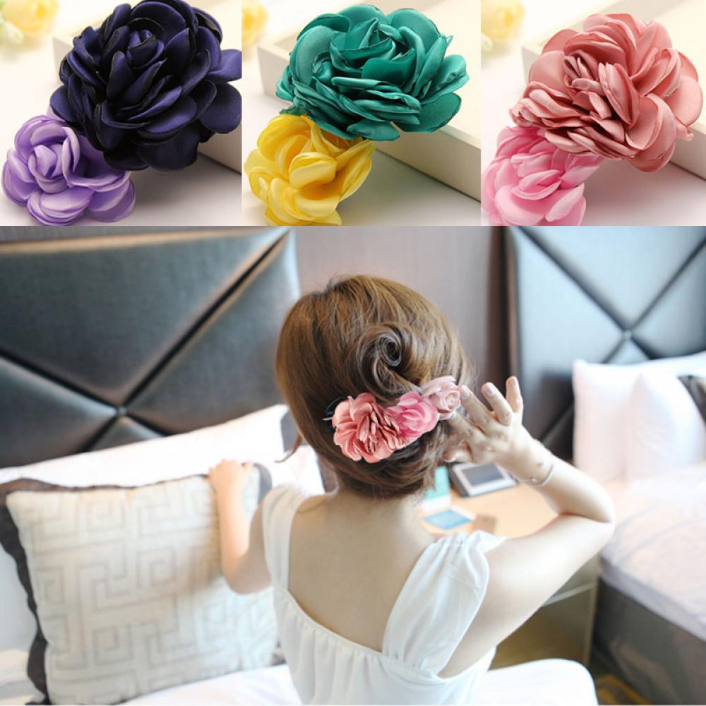 1pc 2 In 1 Fashion Artificial Big Rose Flower Hairpin Bows Hairclips For Women Party Wedding Decorations Decorative Fake Flower