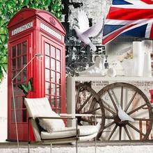 Personalizado 3D europeo Retro Vintage rojo teléfono cabina Fondo papel tapiz Mural