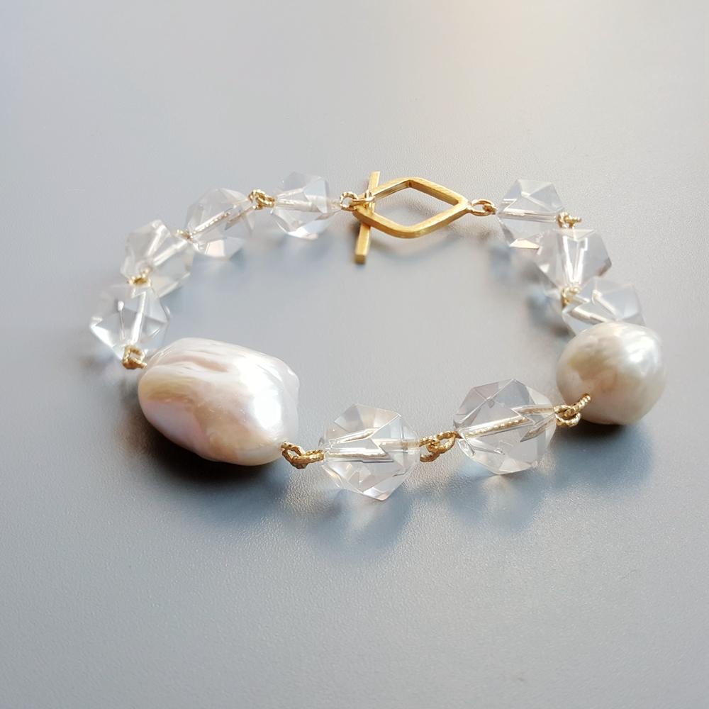 Lii Ji Geniune Clear Quartz Baroque Pearl S925 Sterling Silver 18K Gold Plated Handmade Bracelet Delicate Jewelry For Women