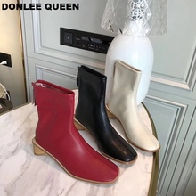 Women Boots Square Toe Low Heel Ankle Boots Autumn Fashion Zipper Chelsea Boots Microfiber Leather Boots Women  zapatos de mujer ankle boots for women 2018 autumn new low heels string bead leather ladies shoes round toe pearls chelsea boots zapatos de mujer