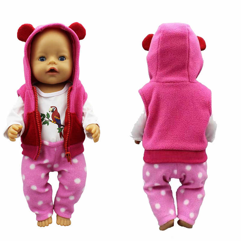 "doll clothes for 18 inch doll vest jacket shirt and pants for 18"" 43cm baby new born doll toys accessory baby girl gifts"
