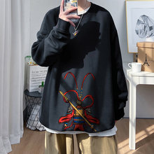 2021 New Hoodies Mens Crew Neck Monkey King Patter Print Loose Sweatshirt Brushed Thicken Clothes Long Streetwear Oversized