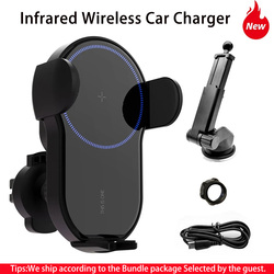 Wholesale Automatic Clamping 15W Car Wireless Charger For iPhone 12 For Xiaomi Infrared Induction Qi Wireless Charger Car Holder