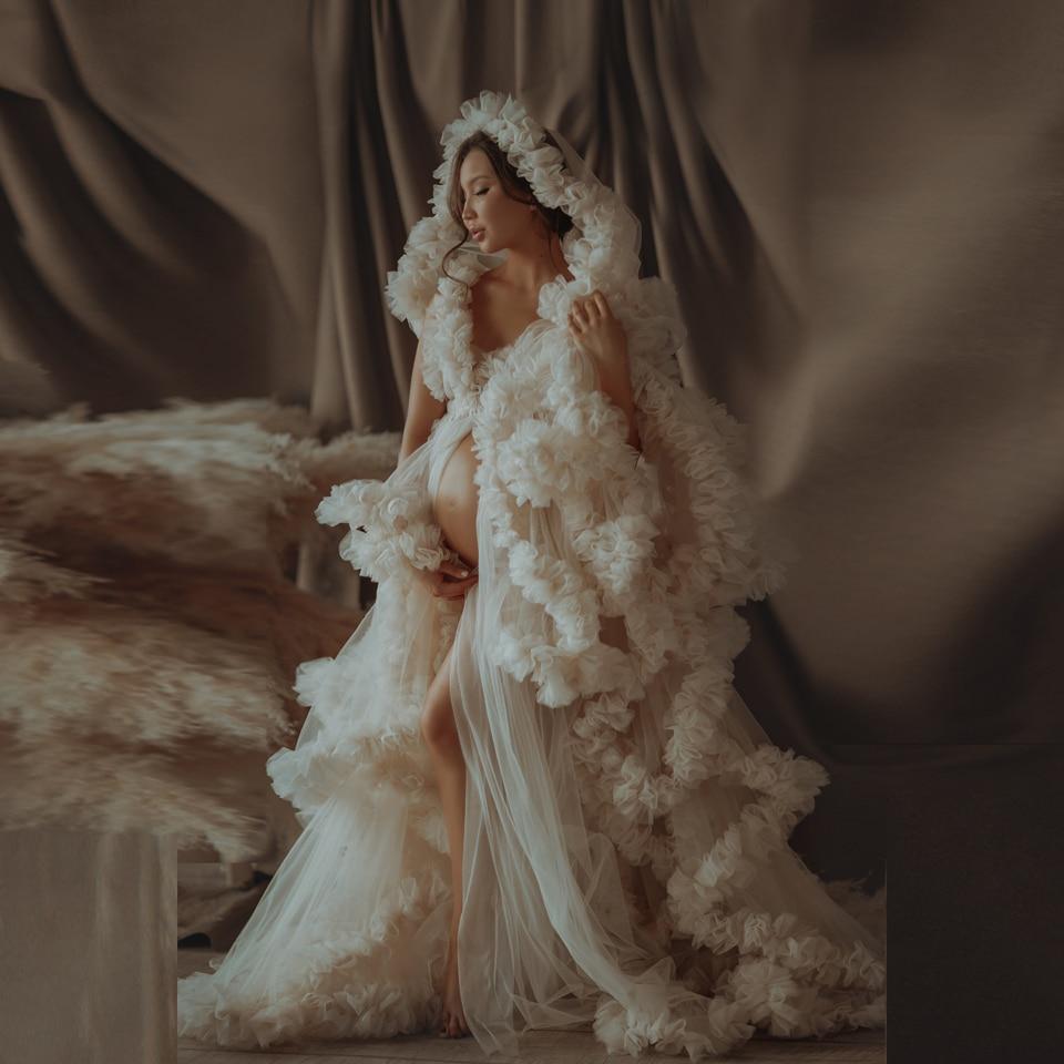 Dresses Robes Tulle Maternity-Dressing-Gowns Sheer Custom-Made Ruffled Long Luxury Women