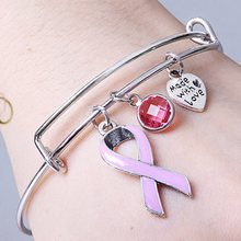 Trendy Brust Cancer Awareness pink ribbon charme armband Frauen Armbänder(China)