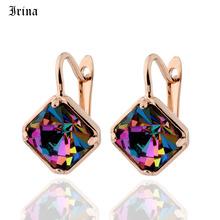 Irina New Style Cube modne kolczyki kwadratowe kolczyki Drop dla kobiet luksusowa biżuteria prezent 585 różowe złoto kolor eleganckie kolczyki tanie tanio Copper kolczyki wiszące TRENDY moda E004 SQUARE Kobiety Glass