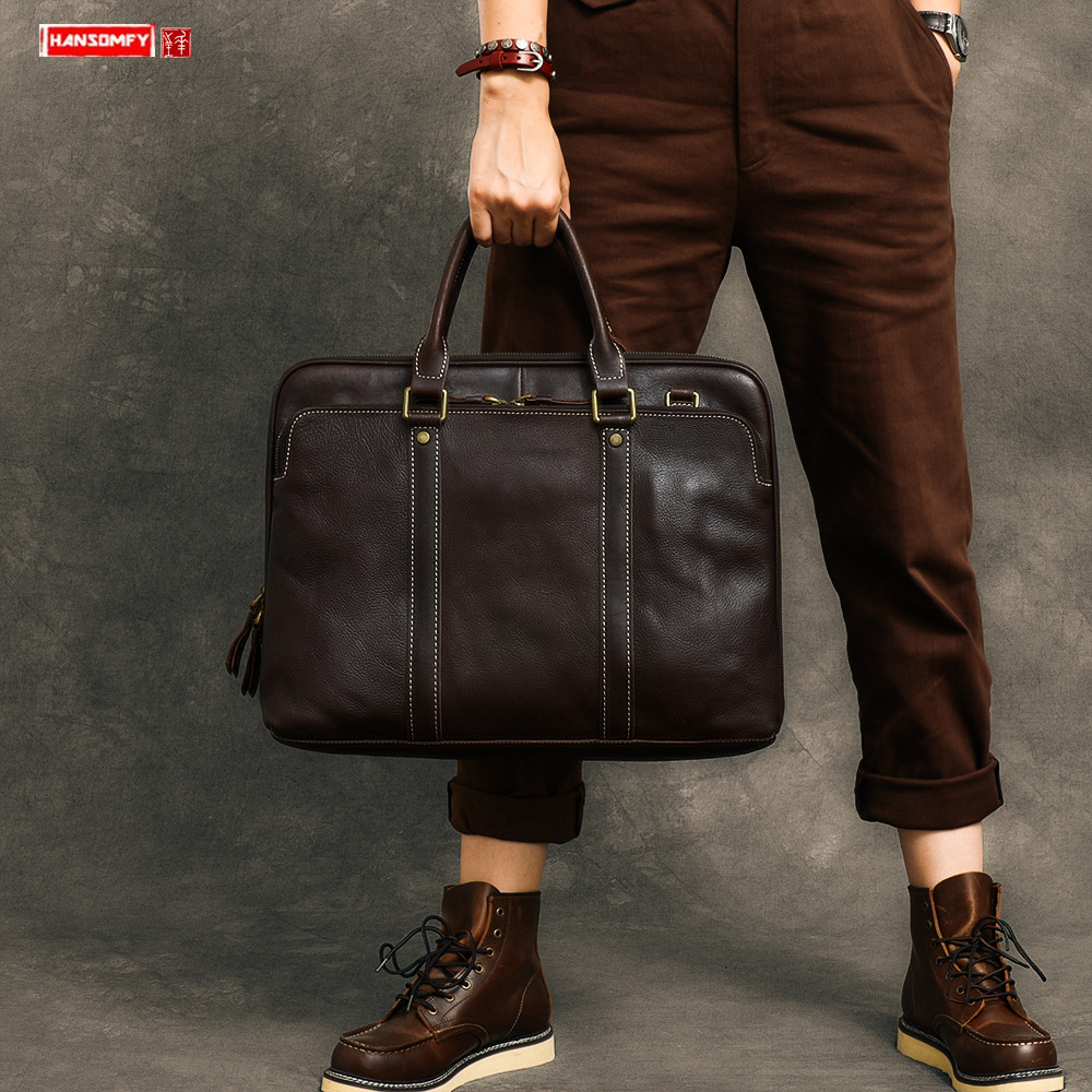 Vintage Men's Handbag 15.6 Inch Laptop Briefcase Male Shoulder Crossbody Bag Genuine Leather Computer Bag Business Travel Bags