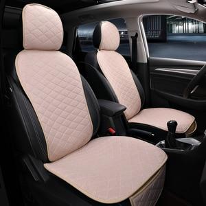 Image 5 - フロント車のシートカバーと背もたれユニバーサル通気性リネンシートクッション保護マットパッド自動シートフィットインテリアアクセサリー