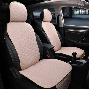 Image 5 - Front Car Seat Cover With Backrest Universal Breathable Linen Seat Cushion Protection Mat Pad Auto Seat Fit Interior Accessories