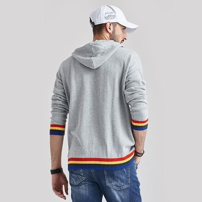 Aliksada 2020 Men's Autumn New Casual Cotton Outwear Hat Sweaters Hoodies Pullovers Men Fashion Classic Striped Sweater Coat Men 4