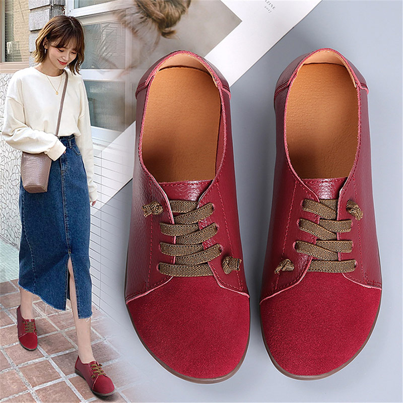 2020 New Women Lace Up PU Leather Spring Flat Loafers Ladies Comfort Light Casual Shoes Woman Platform Fashion Falts Shoe Female