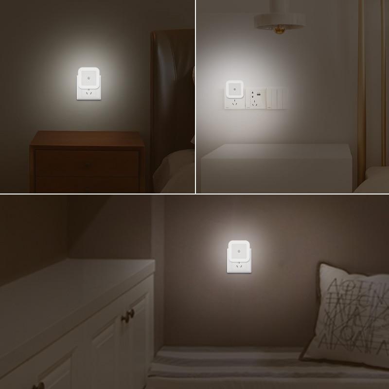 Nersury Light Sensor LED Night light Square Lamp Children 110V 220V Bedroom Mini Smart Night Light Kid LED Sensor Night Lamp 6