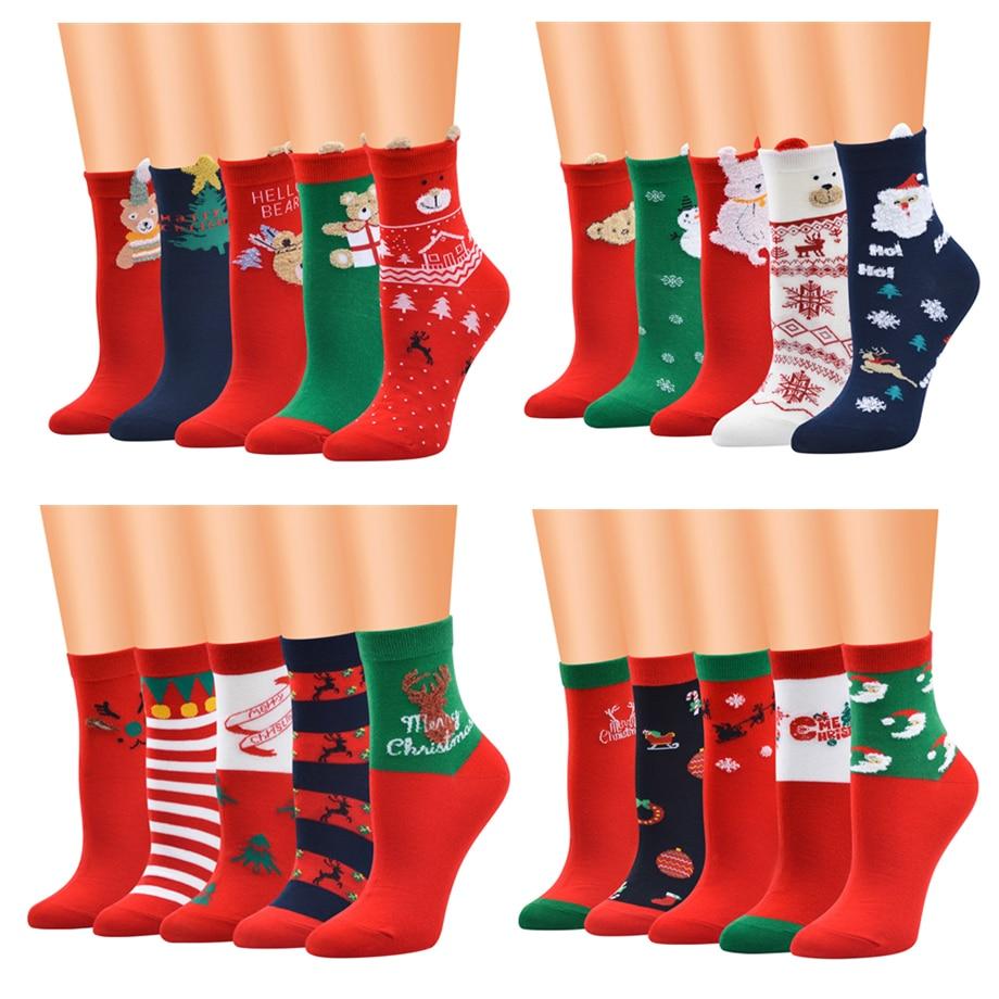 2020 New Year Gift Christmas Socks Women Cotton Socks Kawaii Calcetines Femme Girls Cute Funny Winter Sock Santa Claus,Elk,Snow