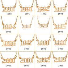 Número de ano personalizado colares para mulher cor dourada ano 1980 1989 2000 presente de aniversário de 1980 a 2020 jóias