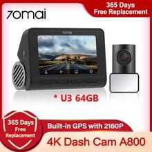 €100 Off €10, Code: FRSEP10 70mai 4K A800S Dash Cam Real 4K Camera Car DVR videoregistratore automatico GPS incorporato ADAS anteriore posteriore doppia visione 24H Park Guard