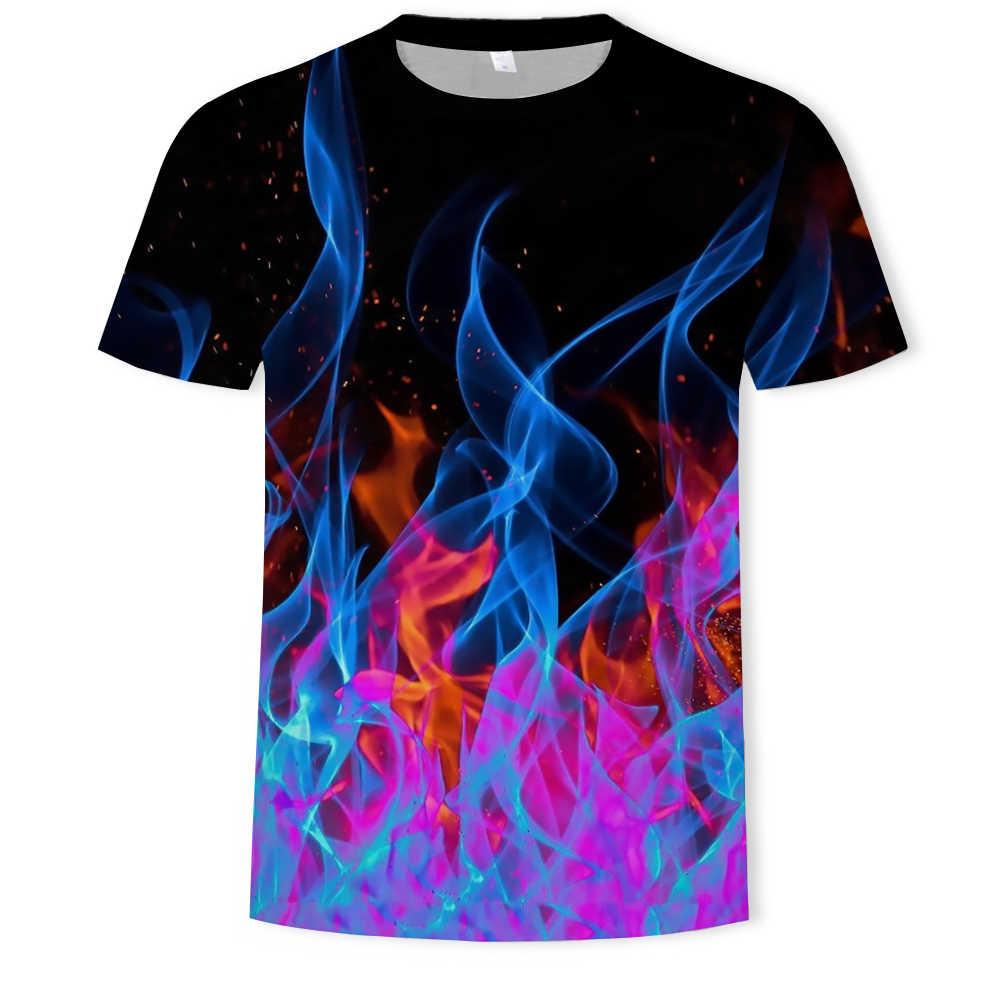 2019 새로운 t 셔츠 남자 컬러 불꽃 tshirts 남자 여자 t 셔츠 3d 인쇄 블랙 티셔츠 캐주얼 탑 애니메이션 짧은 소매 tshirt 탑스