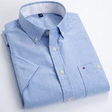 100% Cotton Oxford White Short Sleeve Shirt Casual Fashion Shirts Mens Streetwear Men Dress Slim Fit