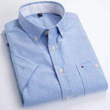 100% algodão oxford branco camisa de manga curta camisas de moda casual streetwear camisas masculinas vestido camisas dos homens casual ajuste fino