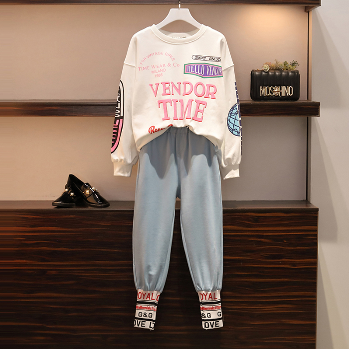 L-4xl Casual Korean Two Piece Sport Sets Outfits Women Plus Size Letters Print Sweatshirts And Pants Suits Fashion Kawaii Tracksuits Sets 53