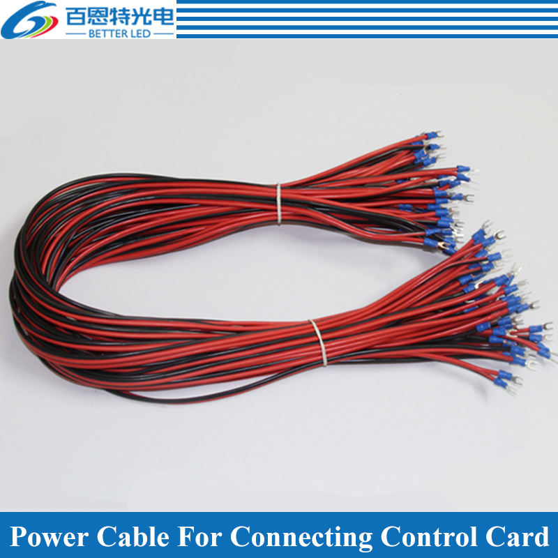 10pcs/lot Pure Copper 50cm Long Power Supply Cable /Power Cord /Power Wire For LED Display, LED Screen Accessories