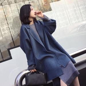 Image 1 - 2019 Nieuwe Herfst En Winter Wollen Jas Vrouwen Losse Koreaanse Kasjmier Jas Mid Lange Wollen Jas Vrouwelijke NS1449