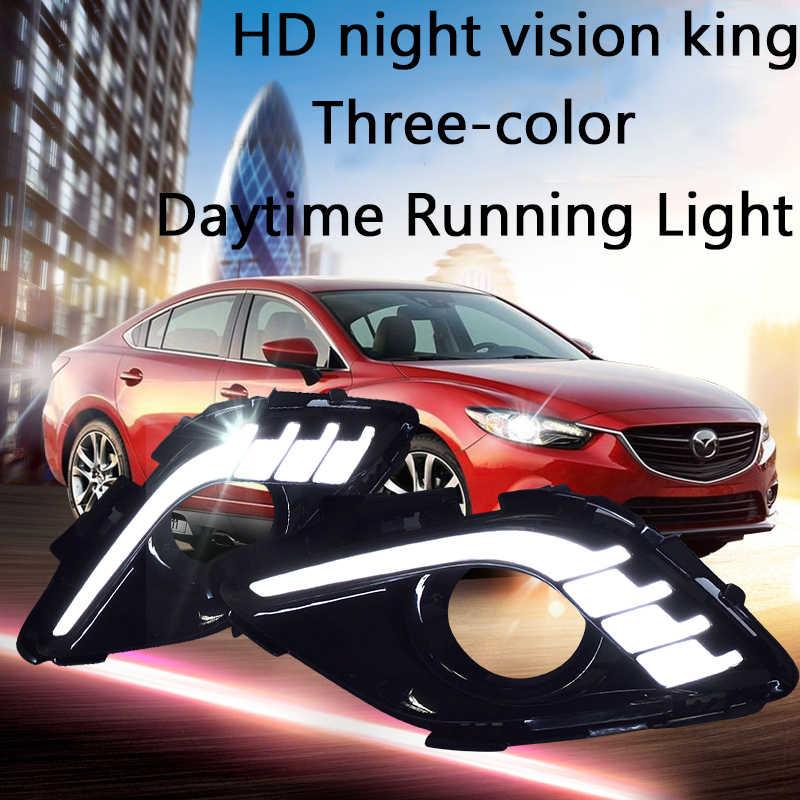 ECAHAYAKU 1 Set LED Car Styling Daytime Running Light with Yellow Turn Signal Front Fog Lamps for Mazda 6 Atenza 2014 2015 2016