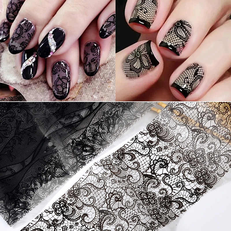 10/50 Pcs Kant Transfer Folie Zwart Wit Nail Stickers Hollow Bloem Sliders Transparante Decals Wraps Nail Art Decoratie set