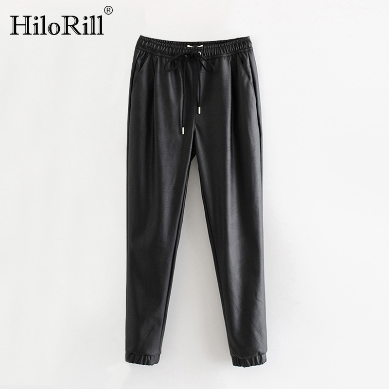 Chic PU Leather Pants Women Long Length High Waist Black Pants Drawstring Tie Solid Elegant Female Trousers Pocket Basic Bottoms