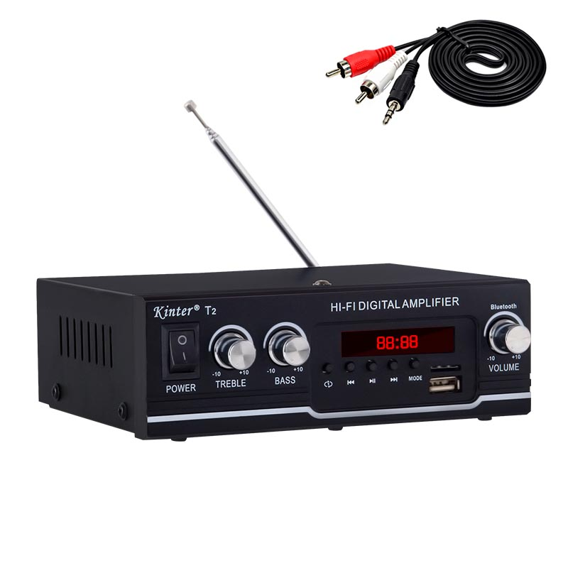 kinter T2 Hifi Car <font><b>Amplifier</b></font> <font><b>Audio</b></font> 2.0CH <font><b>20W</b></font> stereo sound for bluetooth USB TF input FM radio supply power AC220V DC 12V black image
