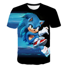 Summer Boys Girls Short Sleeve O-Neck Funny Impostor 4-16T Rears Old Children's Top T-Shirts Sonic 3D Cartoon Football Shirt
