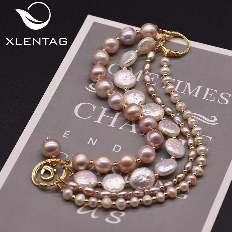 Xlentag Handmade Multi-layered Natural Pearl Bracelet Wedding Party Love Bracelets For Women Gifts Luxury  Boho Jewelry GB0189
