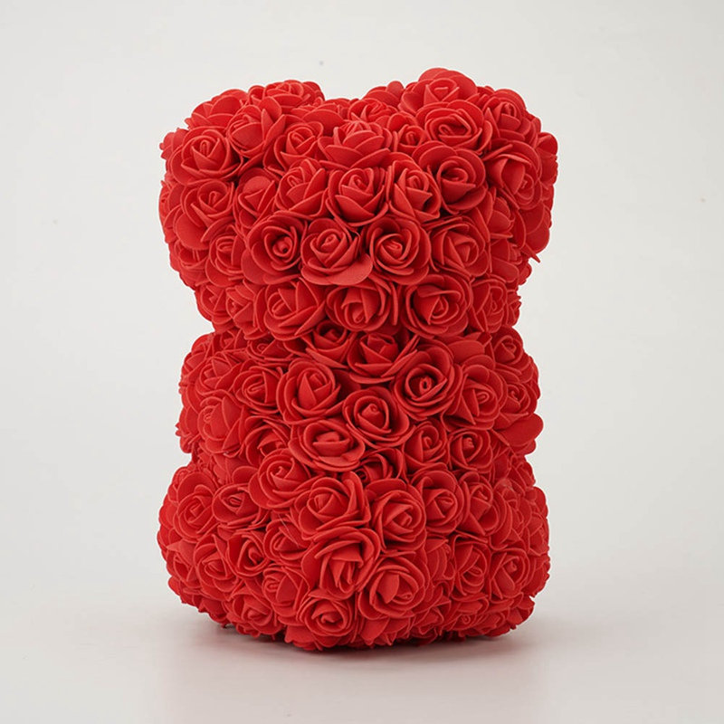25cm Rose Bear Birthday Gift Ornament Artificial Flower Romantic Valentine's Day Gift Rose Bear Surprise