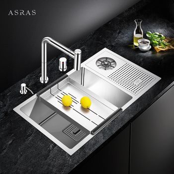 ASRAS-7643X High-pressure Automatic Stainless Steel Cup Rinser Kitchen Sink Milk Tea Shop Wine Bar Cup Washer Sink with Faucet