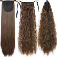 Pageup Long Afro Curly Drawstring Ponytail Synthetic Hairpiece Pony Tail Hair Piece For Women Fake Bun Clip In Hair Extension