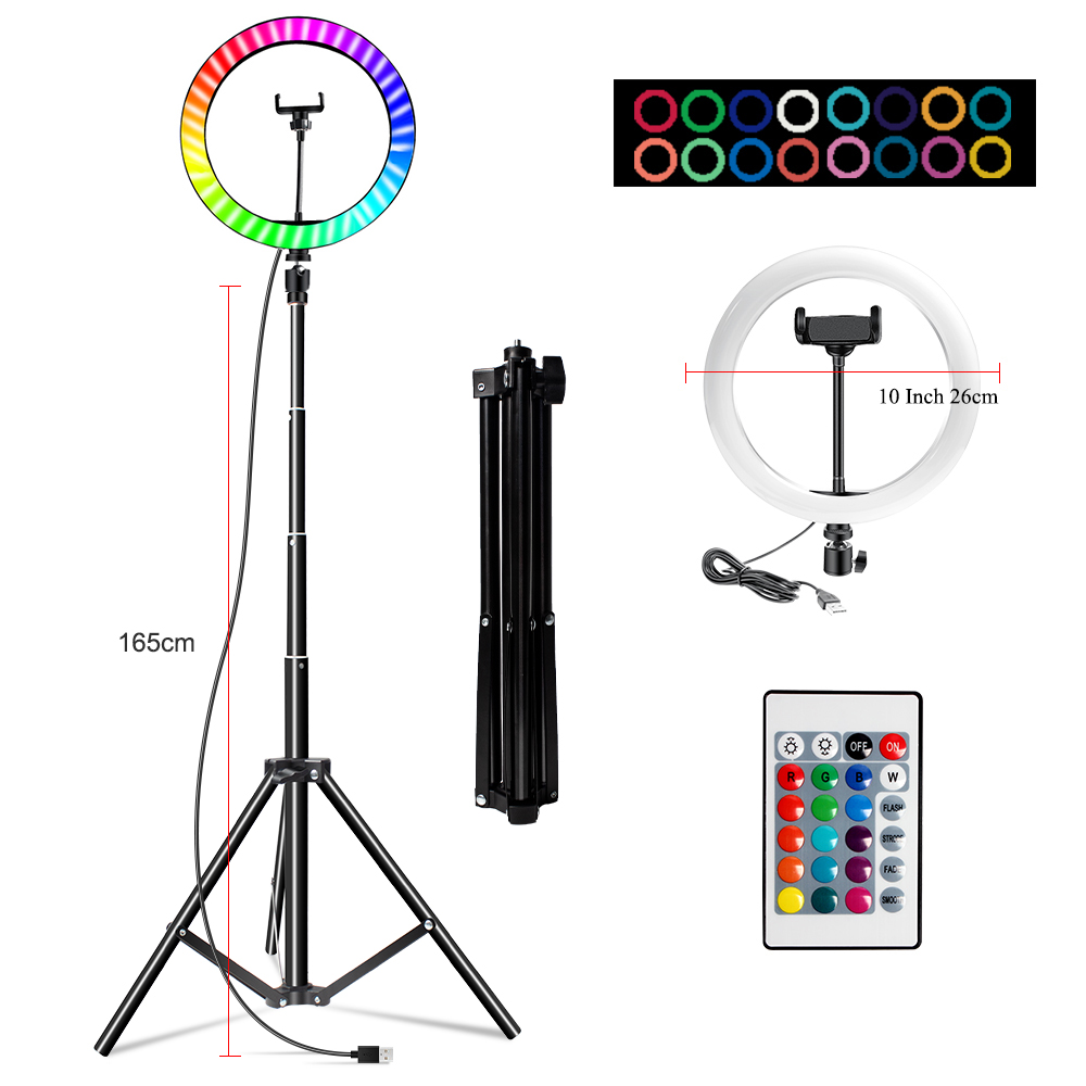 Hadc0ec65630a424c9a9207dc15d526005 10 Inch Rgb Video Light 16Colors Rgb Ring Lamp For Phone with Remote Camera Studio Large Light Led USB Ring 26cm for Youtuber