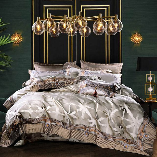 Svetanya juego de cama de brocado de lujo, ropa de cama king y queen, tamaño doble