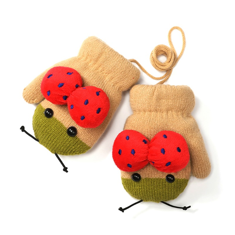 Children Gloves Winter Cute Girl Boy Soft Ladybug Knitted Warm Soft Thick Plus Velvet Cartoon Gloves For Kids W2