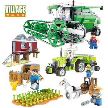 02022 kid toys 2080pcs city toys the legoing 10184 town plan set building blocks bricks new toys model for kids christmas gifts Kids Toys Building Blocks Farm Combine harvester Bricks Educational Toys For Kids DIY Model Kit Mini Figures Christmas Gifts