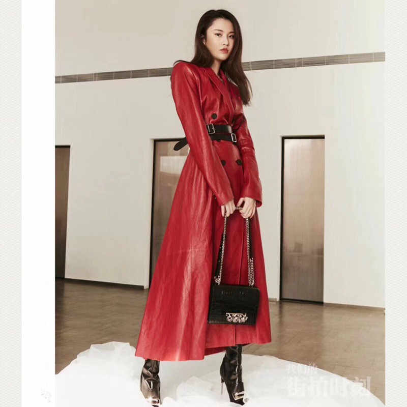 European Style Woman Coats 100% Sheepskin Leather 2019 Winter Natural Sheepskin Leather Female Windbreaker Long