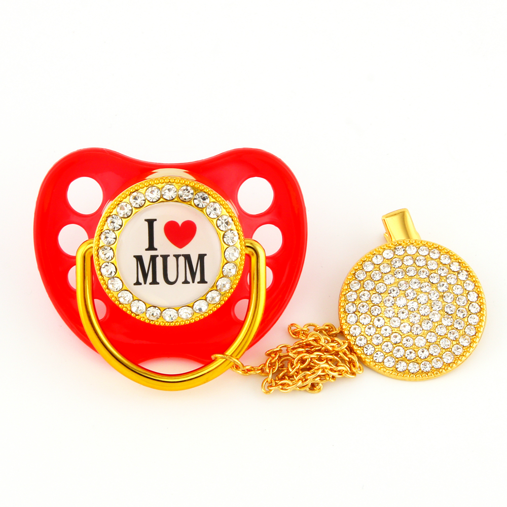 Luxury Diamond Sparkle Crystals Baby Pacifiers Rhinestones Bling Bling Pacifier Chain Clip I Love Mum Dad Dummy Soother Holder