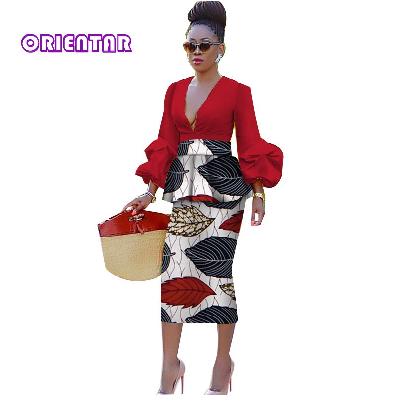 Women African Skirt With Long Sleeve Crop Top African Clothes Deep V-Neck Puff Sleeve Tops Pencil Skirts African Suits WY3923