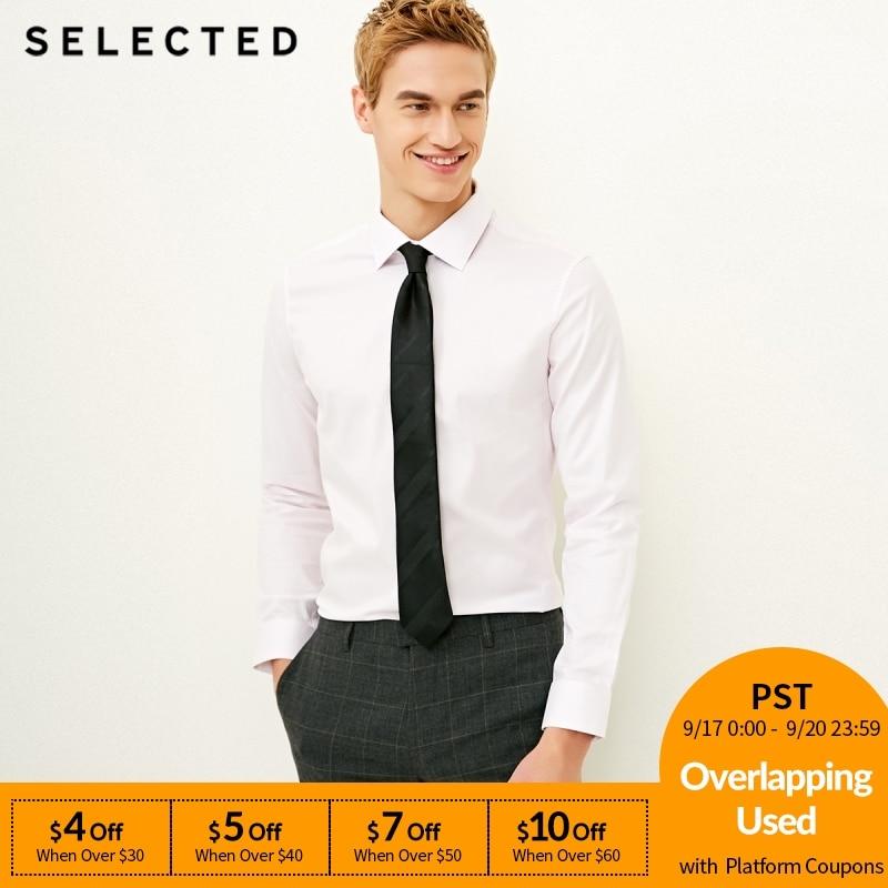 SELECTED Men's Slight Stretch Cotton-blend Pure Color Slim Fit Long-sleeved Shirt S 418105537