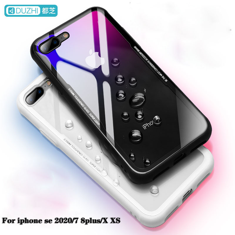 For <font><b>iPhone</b></font> se 2020 <font><b>Case</b></font> Tempered Glass <font><b>Case</b></font> For <font><b>iphone</b></font> 7 <font><b>Original</b></font> Duzhi Shockproof Glass Cover For <font><b>iPhone</b></font> <font><b>8</b></font> <font><b>case</b></font> show logo image
