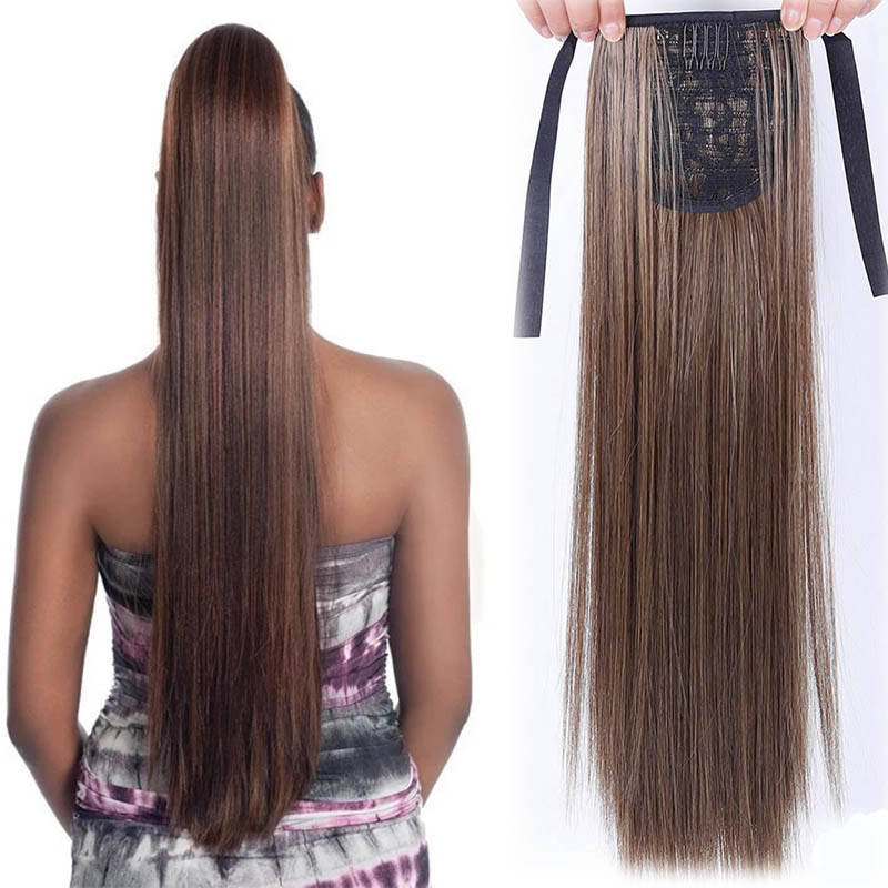 LUPU 22 Inch Long Straight Ponytail Drawstring Synthetic Women's Wig  Clip In Hair Extensions Heat Resistant Fake Hair