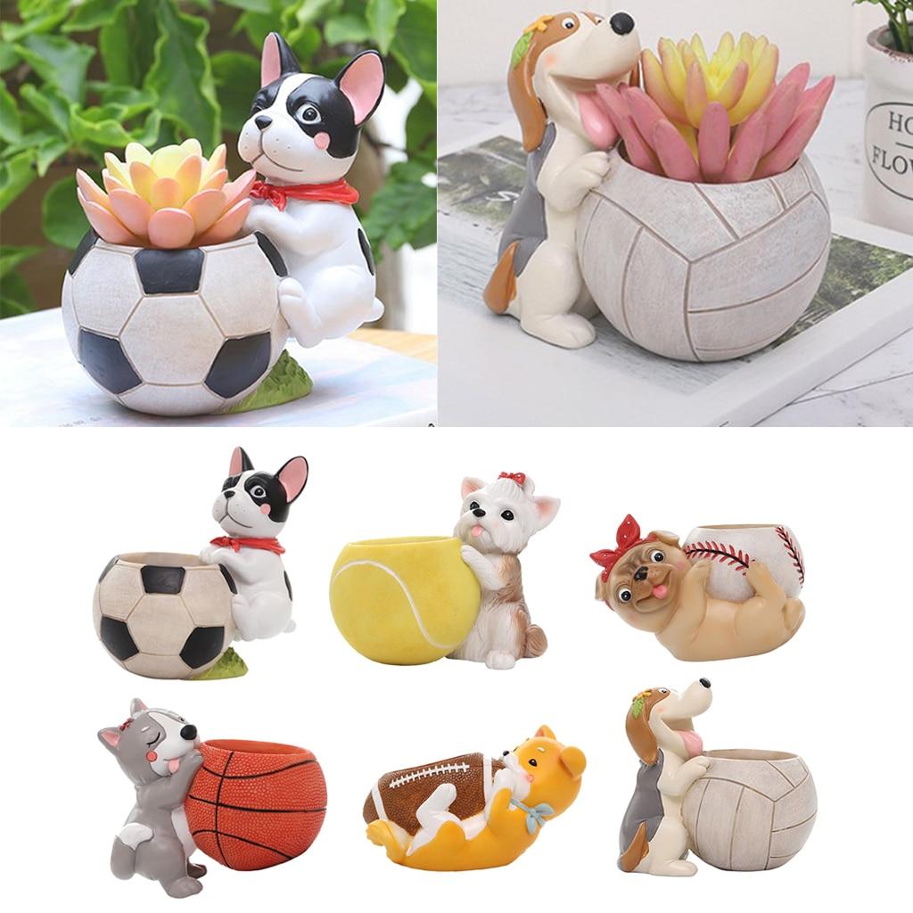 Cartoon Puppy Dog Succulent Flower Pot, Flowerpot Holder Garden Planter, Flowers Container, Home Patio Decor Ornament