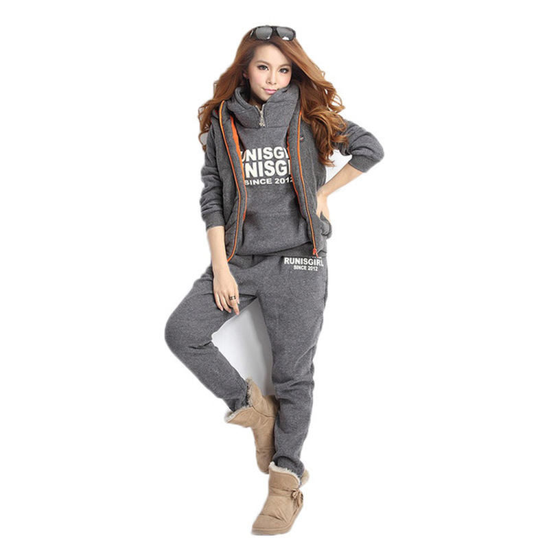 New 3 Piece Set Women Winter Women's Casual Suit Korean Version Of The Hooded Padded Long Sleeve Women Clothing Velour Tracksuit